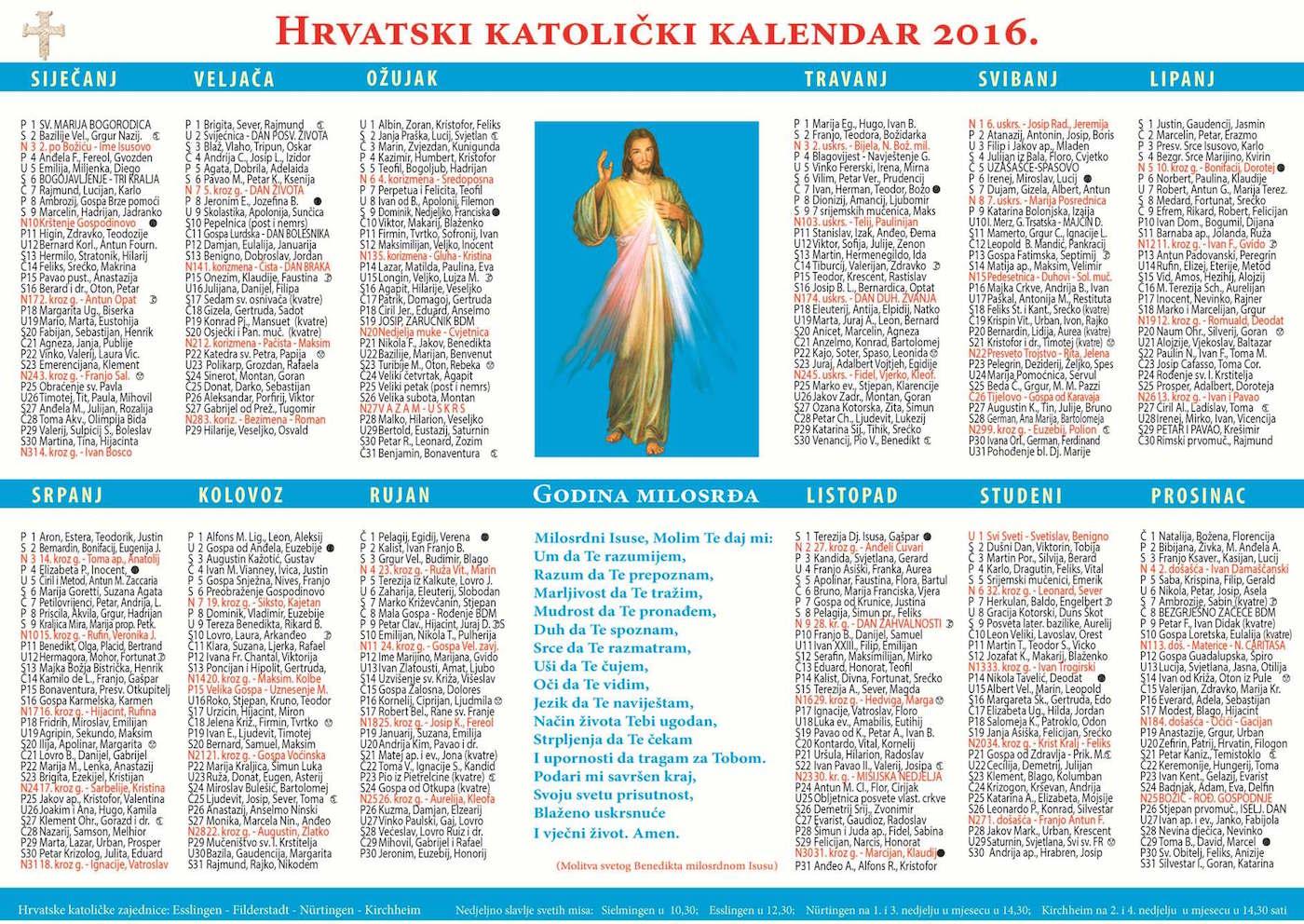 """... for """"Matis Hr Hrvatski Katolicki Kalendar 2016"""" – Calendar 2015"""