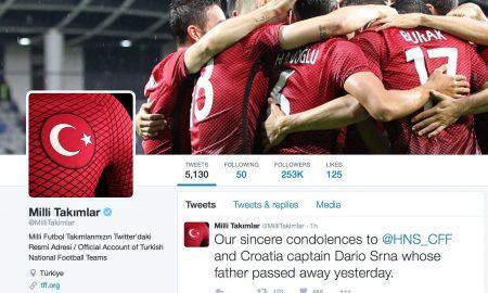De türkische Fußballverband spricht Darijo Srna sein Beileid aus.