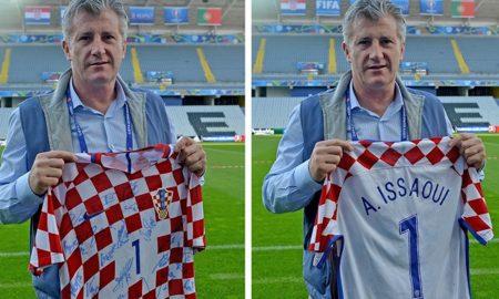Der Kroatische Fußballverband HNS schenkt dem verletzten UEFA-Mitarbeiter Abdel Issaouij ein Nationaltrikot mit den Unterschriften aller kroatischen Spiele.