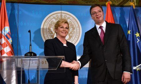 Die kroatische Präsidentin Kolinda Grabar-Kitarović und der serbische Regierungschef Aleksander Vučić