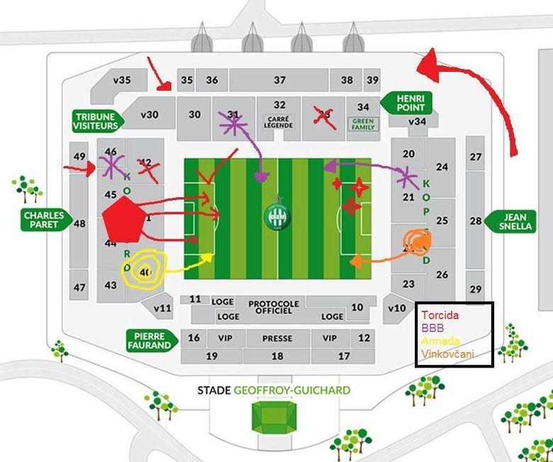 Torcida Kroatien Tschechien Plan vom Stadion Geoffroy-Guichard in St. Etienne